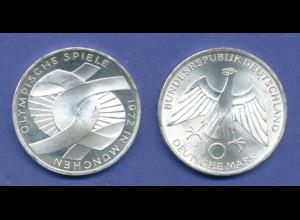 Olympische Spiele 1972, 10DM Silber-Gedenkmünze Verschlungene Arme - J
