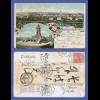 AK Gruss aus Sangerhausen 1907 gelaufen nach Japan, nachgesandt, interessant !!!