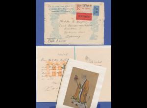 Volksrepublik China, 1948, R-Express-Brief rückseitig frankiert. Mit Inhalt !