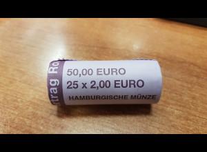 Deutschland 2 Euro Rolle 2007 Römische Verträge J , 25 Stück wie verausgabt