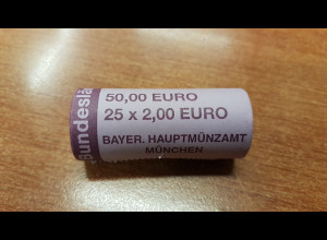 Deutschland 2 Euro Rolle 2009 Saarland D , 25 Stück wie verausgabt