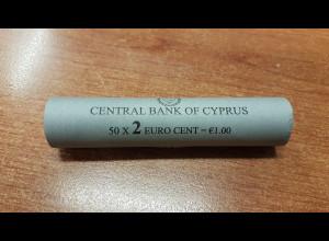 2 Cent Zypern 2008 50 Stück in Originalrolle, wie verausgabt