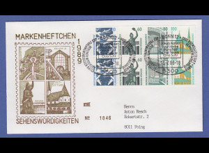 Bundesrepublik Sehenswürdigkeiten Heftchenblatt HBL 31 auf Brief, O Bonn 13.7.89