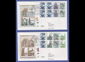 Berlin Sehenswürdigkeiten Heftchenblatt HBL 22 und 23 auf 2 Briefen, So-O Berlin