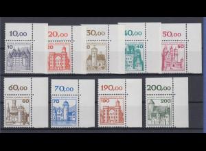 Berlin Burgen & Schlösser 1.Serie Mi.-Nr. 532-540 ** Eckrandstücke oben rechts