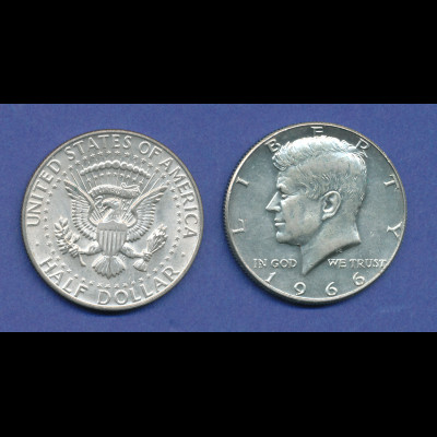 USA Kennedy 1/2 Dollar 1966, 11,5g 400er Silber !