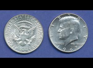 USA Kennedy 1/2 Dollar 1967, 11,5g 400er Silber !