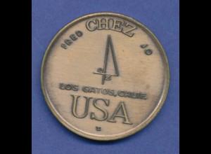 "USA Token ""FRED CHEZ JO"", Los Gatos, California. Adler, Olympische Ringe. Bronze"