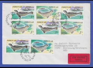 Dänemark-Färöer 1992 Mi.-Nr. 235-36 Seehunde mehrfach aus HBL auf gel. Eil-FDC