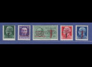 Italien 1944 Mi.-Nr. 642, 644-46, 648 5 Werte * alle mit KOPFSTEHENDEM Aufdruck