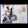 Fußball-WM USA 1994, Numisbrief mit Silbermünze Cuba / Kuba 10 Pesos, Ag.999