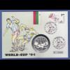 Fußball-WM USA 1994, Numisbrief mit Silbermünze Bulgarien 500 Lewa, Ag.925