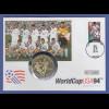 Fußball-WM USA 1994, Team USA, Numisbrief mit Silbermünze USA 1 Dollar