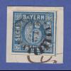 Bayern Quadratausgabe 6 Kreuzer blau Mi.-Nr. 10 vollrandig auf Briefstück GMR 18