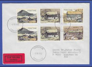 Färöer 1992 Landestypische Gebäude Mi.-Nr. 239-42 Satz auf gel. Express-FDC