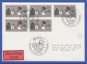 Bundesrepublik 1981 Denkmal Mi.-Nr. 1084 per 5 als portger. MEF auf FDC-Karte