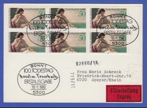Bundesrepublik 1980 Feuerbach Mi.-Nr. 1033 per 5 als portgerecht auf FDC-Karte