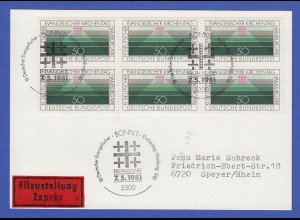 Bundesrepublik 1981 Ev. Kirchentag Mi.-Nr. 1098 per 6 portogerecht auf FDC-Karte