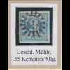 Bayern 3 Kreuzer blau TYPE I Mi.-Nr. 2I Luxusstück mit GMR 155 Kempten