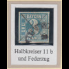 Bayern 3 Kreuzer blau TYPE I Mi.-Nr. 2I entwertet mit Halbkreis-O und Federzug
