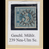 Bayern 3 Kreuzer blau TYPE I Mi.-Nr. 2I gestempelt mit GMR 239 Neu-Ulm