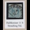 Bayern 3 Kreuzer blau TYPE I Mi.-Nr. 2I gestempelt mit Halbkreis-O STRAUBING