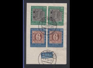 Bundesrepublik Mi.-Nr. 115 mit Plattenfehler II im Paar O auf Briefstück