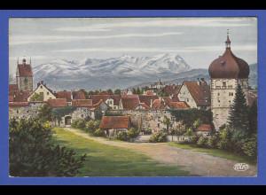 AK Österreich Bregenz Altstadt mit Säntis 1919