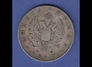 Rußland / Russia Silbermünze Alexander I. 1 Rubel 1817 Prägung St. Petersburg