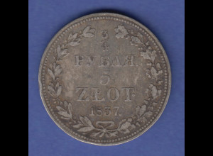 Polen Silbermünze 5 Zloty bzw. 3/4 Rubel 1837