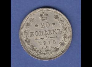 Rußland / Russia Silbermünze 20 Kopeken 1913