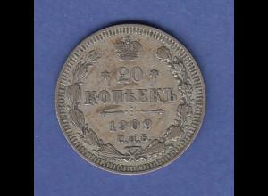 Rußland / Russia Silbermünze 20 Kopeken 1909