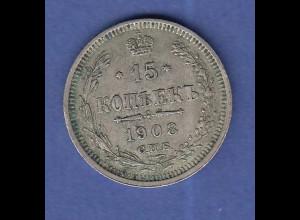 Rußland / Russia Silbermünze 15 Kopeken 1908