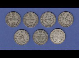 Rußland / Russia Lot 7 Silber-Kursmünzen 20 Kopeken, Jahrgänge 1909-1915 je 1x