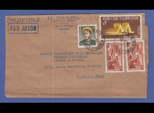 Vietnam 1954 Deutsche Diplomaten-Post nach Paris, O Saigon , schöner Beleg !