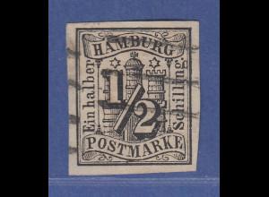 Hamburg 1/2 Schilling Mi.-Nr. 1 gestempelt mit Attest Lange einwandfrei !