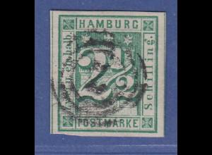 Hamburg 2 1/2 Schilling grün Mi.-Nr. 9 gestempelt, geprüft Georg Bühler