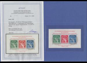 Berlin 1949 Währungsgeschädigten-Block mit ET-Sonderstempel, Attest Schlegel BPP