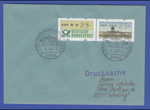 ATM Berlin Wert 25 in MIF mit Bund-ATM 25 auf Drucksache mit O Glücksburg 4.5.87