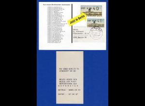 ATM Berlin Wert 40 mit AQ aus MWZD Berlin 51 auf ATM-Werbekarte , 27.06.87