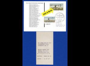 ATM Berlin Wert 40 ohne DBP mit AQ aus MWZD Berlin 519 Tegel auf ATM-Werbekarte