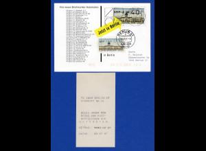 ATM Berlin Wert 40 mit AQ aus MWZD Berlin 65 auf ATM-Werbekarte 9.7.87