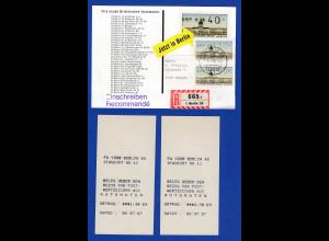 ATM Berlin 2 Werte 130 OGL aus MWZD Berlin 42 auf ATM-Werbekarte 8.7.87