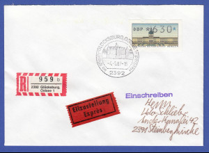 ATM Berlin Wert 630 Pfg auf R-Eil-Brief vom Ersttag 4.5.87 , O Glücksburg