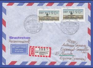 ATM Berlin 2x Wert 190 Pfg auf R-Brief nach Spanien, Ersttag 4.5.87 O Glücksburg