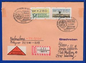 ATM Bund / Berlin je Wert 280 auf R-NN-Brief, FDC Ersttag 4.5.87 mit Sonder-O