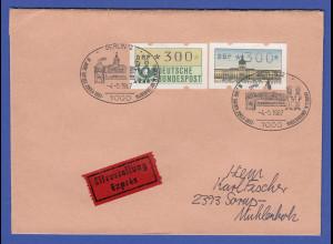 ATM Bund / Berlin je Wert 300 auf Eil-Brief , FDC 4.5.87 mit Sonder-O BERLIN 12