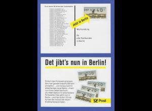 """ATM Berlin 1987 amtliche Werbekarte für die neuen ATM """"Det jibt's nun in Berlin"""""""