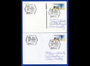 Ganzsachen mit ATM-Motiv 45 / 55 Cent je mit Sonder-O 30 Jahre ATM 2.1.2011