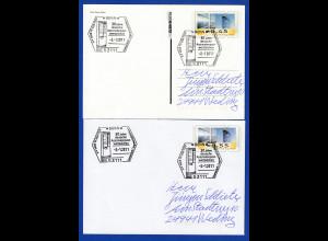 Ganzsachen mit ATM-Motiv 45 / 55 Cent beide mit Sonder-O 30 Jahre ATM 2.1.2011